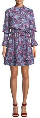 Rebecca Minkoff Belinda Floral High-Neck Ruffle Mini Dress