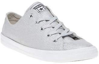 Converse New Womens Grey Metallic All Star Dainty Ox Canvas Trainers Lace Up