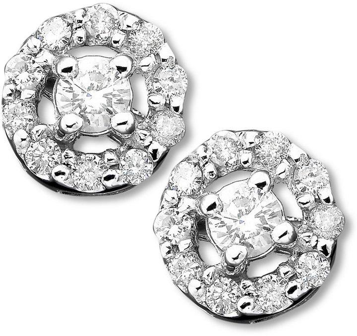 Diamond Flower Stud Earrings in 14k White Gold (1/2 ct. t.w.)