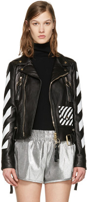 Off-White Black Leather Diagonals Jacket $2,475 thestylecure.com