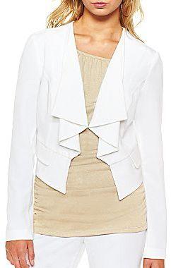 JCPenney B. Wear® Ruffle-Front Open Blazer