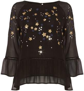 Next Womens Phase Eight Navy/Multi Dominik Star Sequin Blouse
