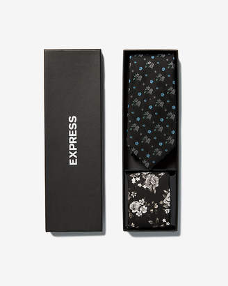 Express Floral Narrow Silk Tie And Pocket Square Gift Set