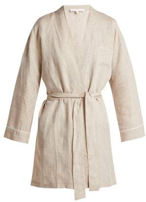 BEIGE Pour Les Femmes - Piped Linen Robe - Womens Multi