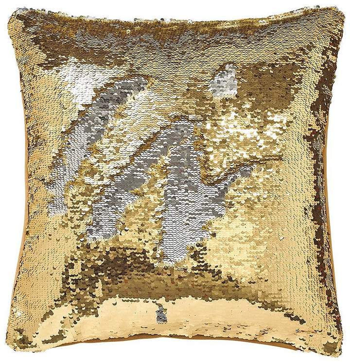 Catherine Lansfield Reverse Sequin Cushion - Gold/Silver