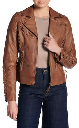 Coffee Shop Lace-Up Faux Leather Jacket