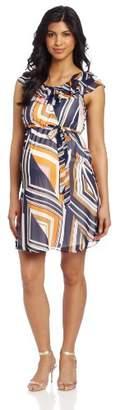 Maternal America Women's Maternity Layered Ruffle Neckline Dress