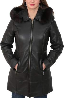 House of Leather Ladies Soft Leather Puffer Coat 3/4 Length Padded Fitted Hooded Parka Lisa