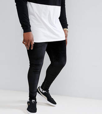 Asos Sixth June Skinny Joggers In Black Velour With Zip Ankle exclusive to