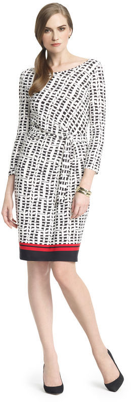 Anne Klein Wicker Print Faux Wrap Dress