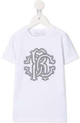 Roberto Cavalli Junior sequinned logo T-shirt