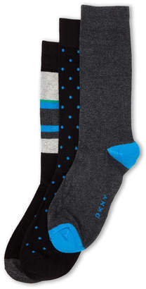 DKNY 3-Pack Stripe & Dot Crew Socks