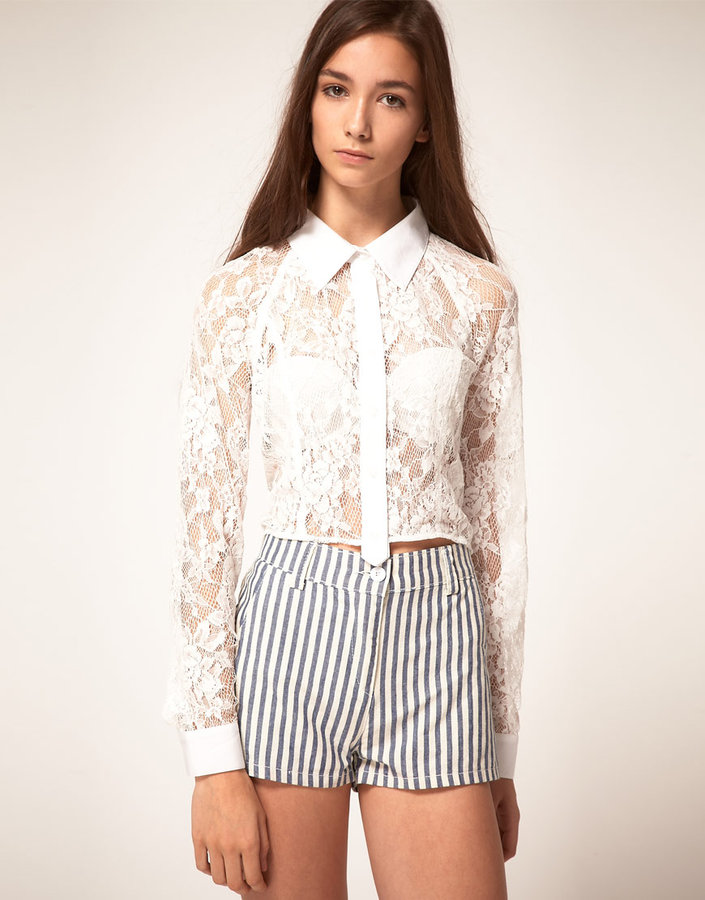Finders Keepers Cropped Lace Shirt