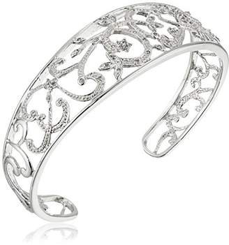Sterling Diamond Filigree Cuff Bracelet (1/4 cttw