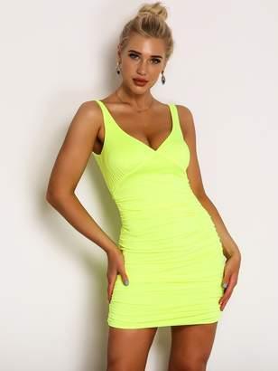 Shein Joyfunear Neon Yellow Ruched Detail Satin Bodycon Dress
