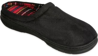 Deluxe Comfort Men's Memory Foam Slipper, Size 9-10 Suede Vamp Checkered Lining Memory Foam Insole Strong TPR Outsole Men's Slippers, Black Suede