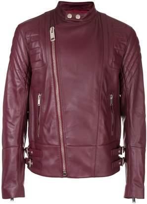 Les Hommes collarless biker jacket