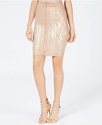 GUESS Snake-Embossed Metallic Skirt