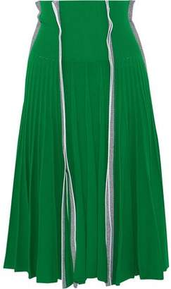 Cédric Charlier Pleated Stretch-Knit Skirt