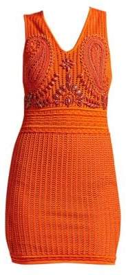 Roberto Cavalli Women's Crochet Embroidered Cocktail Sheath Dress - Orange - Size 38 (2)