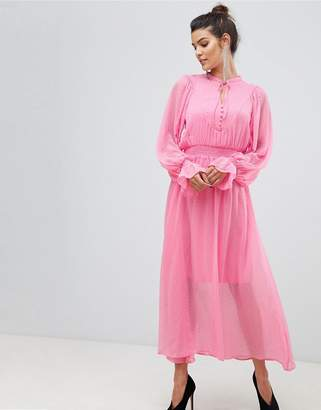 Y.A.S tie neck chiffon spot maxi dress in pink