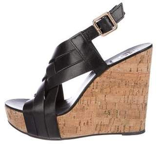 Tory Burch Ankle Strap Leather Wedges