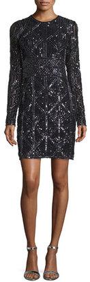 Parker Long-Sleeve Beaded Cocktail Dress, Black $550 thestylecure.com