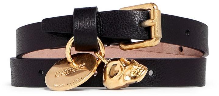 Alexander McQueenAlexander McQueen Skull charm double wrap leather bracelet