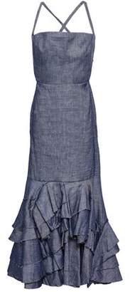 Milly Ruffled Linen-blend Chambray Maxi Dress