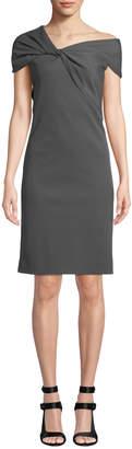 Helmut Lang Twist-Front Asymmetric Cap-Sleeve Dress