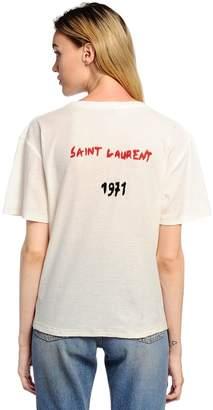 Saint Laurent Back Logo Embroidered Jersey T-Shirt