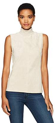 Calvin Klein Women's Sleeveless Mock Neck Top with Suede Front