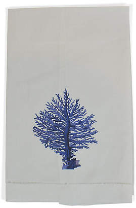 Blue Coral Guest Towel - White/Blue - The French Bee