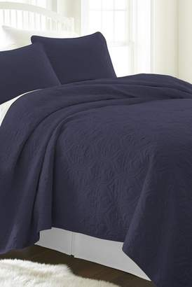 IENJOY HOME Home Spun Premium Ultra Soft Damask Pattern Quilted King Coverlet Set - Navy