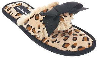 Dennis Basso Faux Fur Animal Print Slipper Sandals with Bow