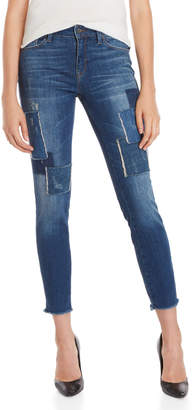 Mavi Jeans Indigo Patched Vintage Adriana Ankle Super Skinny Jeans