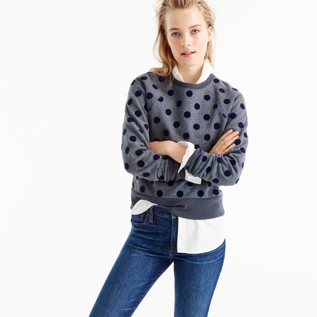 J.CrewTextured polka dot raglan sweatshirt