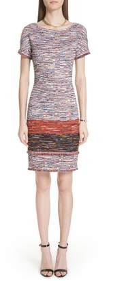 St. John Vertical Fringe Multi Tweed Knit Dress