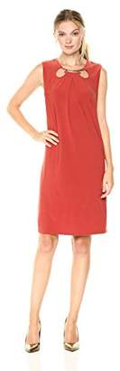 Nine West Women's Twist Knot Tie Front with Keyhole Detail Dress
