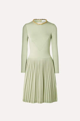 Burberry Chain-embellished Open-back Pleated Silk-blend And Jersey Dress - Light green
