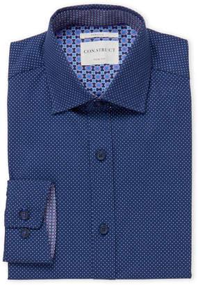 English Laundry Con.Struct Navy Pin Dot Slim Fit Dress Shirt
