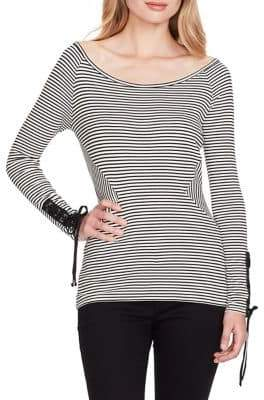 Jessica Simpson Ribbed Wide-Neck Cotton Top