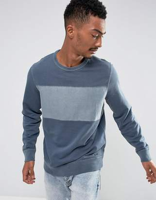 Abercrombie & Fitch Crew Neck Sweatshirt Chest Stripe in Navy