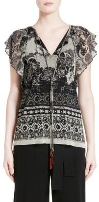 Women's Fuzzi Batik Ruffle Sleeve Top $435 thestylecure.com