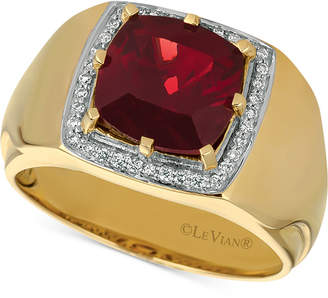 LeVian Le Vian Gents Men Pomegranate Garnet (4-3/8 ct. t.w.) & Diamond (1/6 ct. t.w.) Ring in 14k Gold
