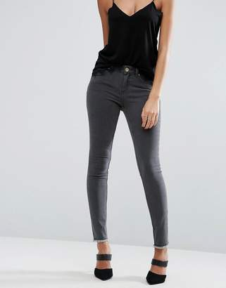 Asos LISBON Mid Rise Jean in Grey with Zip Back Hem