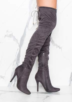 b5d80ca77089 Missy Empire Missyempire Brittney Grey Faux Suede Thigh High Heeled Boots
