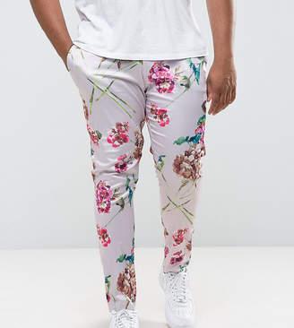 Asos DESIGN PLUS Super Skinny Smart Pants In Pink Floral Print