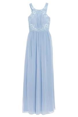 Quiz Powder Blue Chiffon Embellished High Neck Keyhole Dress