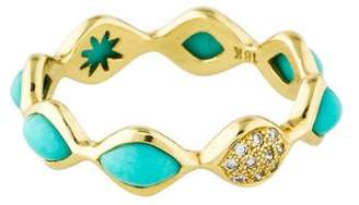 Elizabeth Showers 18K Simone Turquoise & Diamond Stacking Band